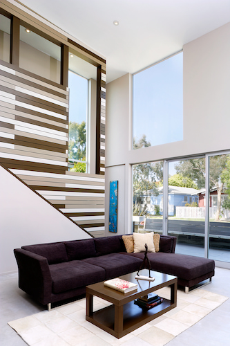 modern house with tall ceilings